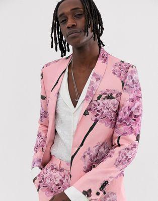 Льняной супероблегающий пиджак с цветочным принтом Twisted Tailor