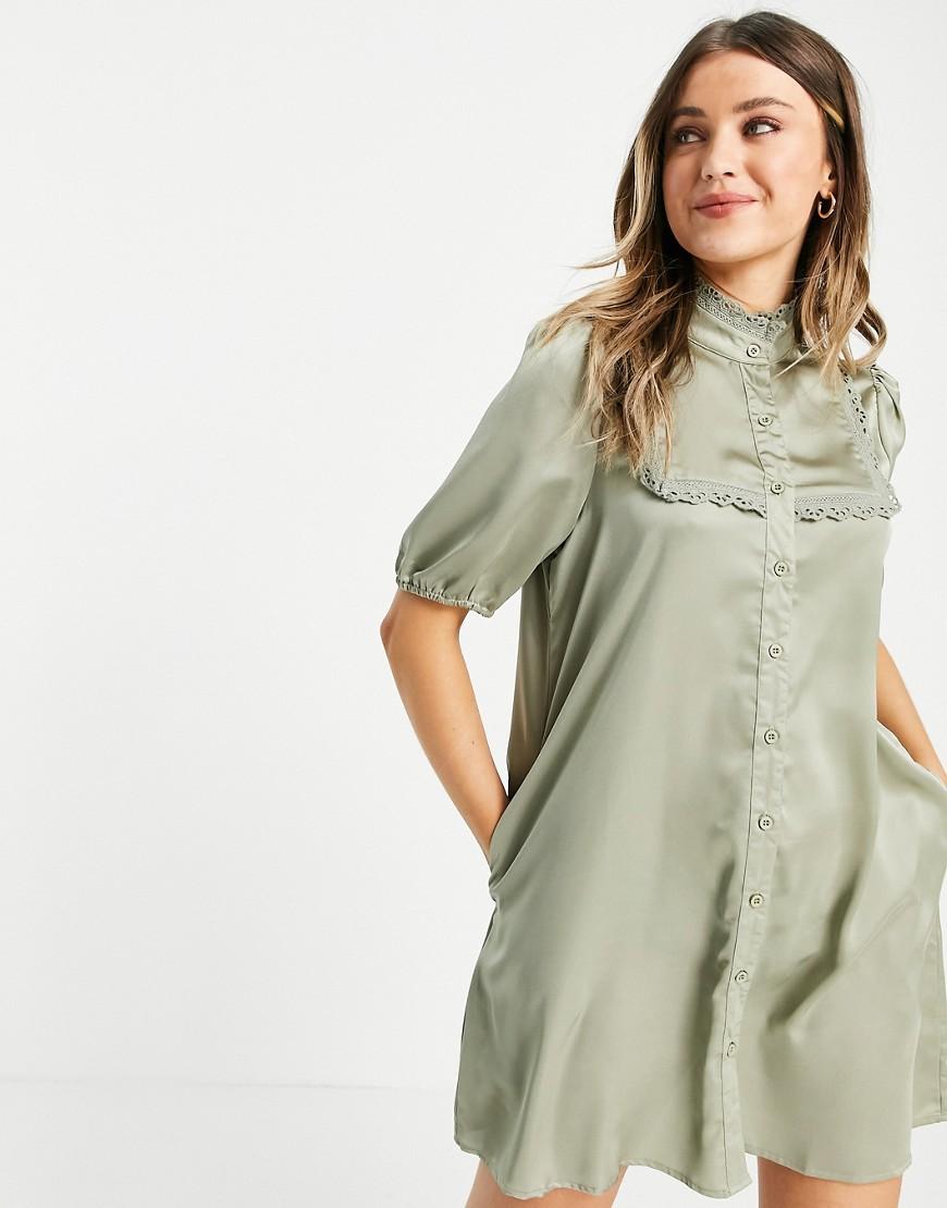high neck satin mini dress in sage-Green