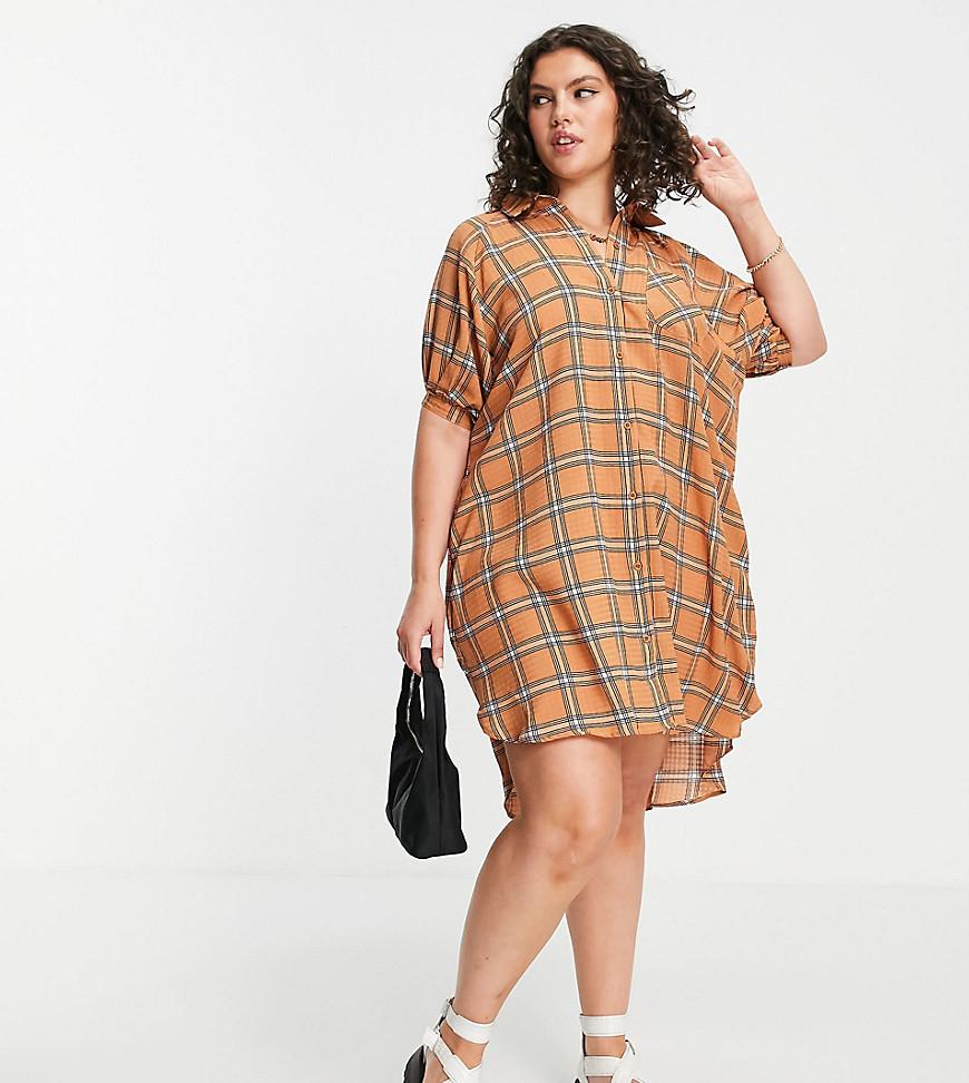 Lola May Plus puff sleeve mini dress in orange check