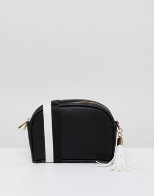 London Rebel Black and White Quilted Across Body Bag with Tassel Detail
