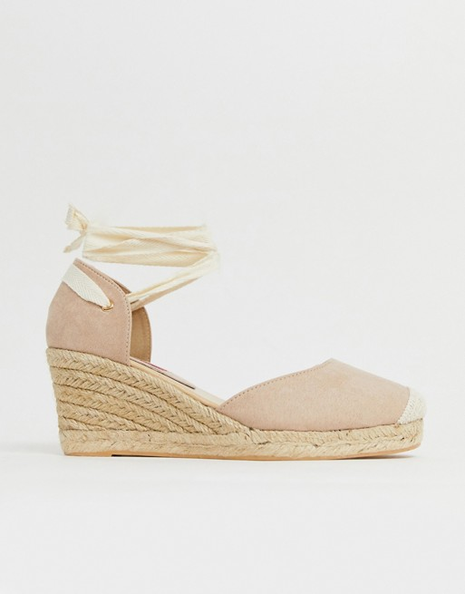 Image 1 of London Rebel espadrille wedges with ankle tie in beige