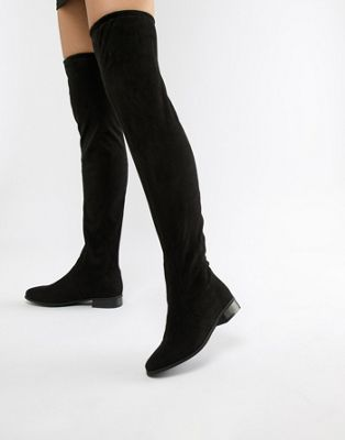 Image 1 of London Rebel Flat Pull On Over The Knee Boot