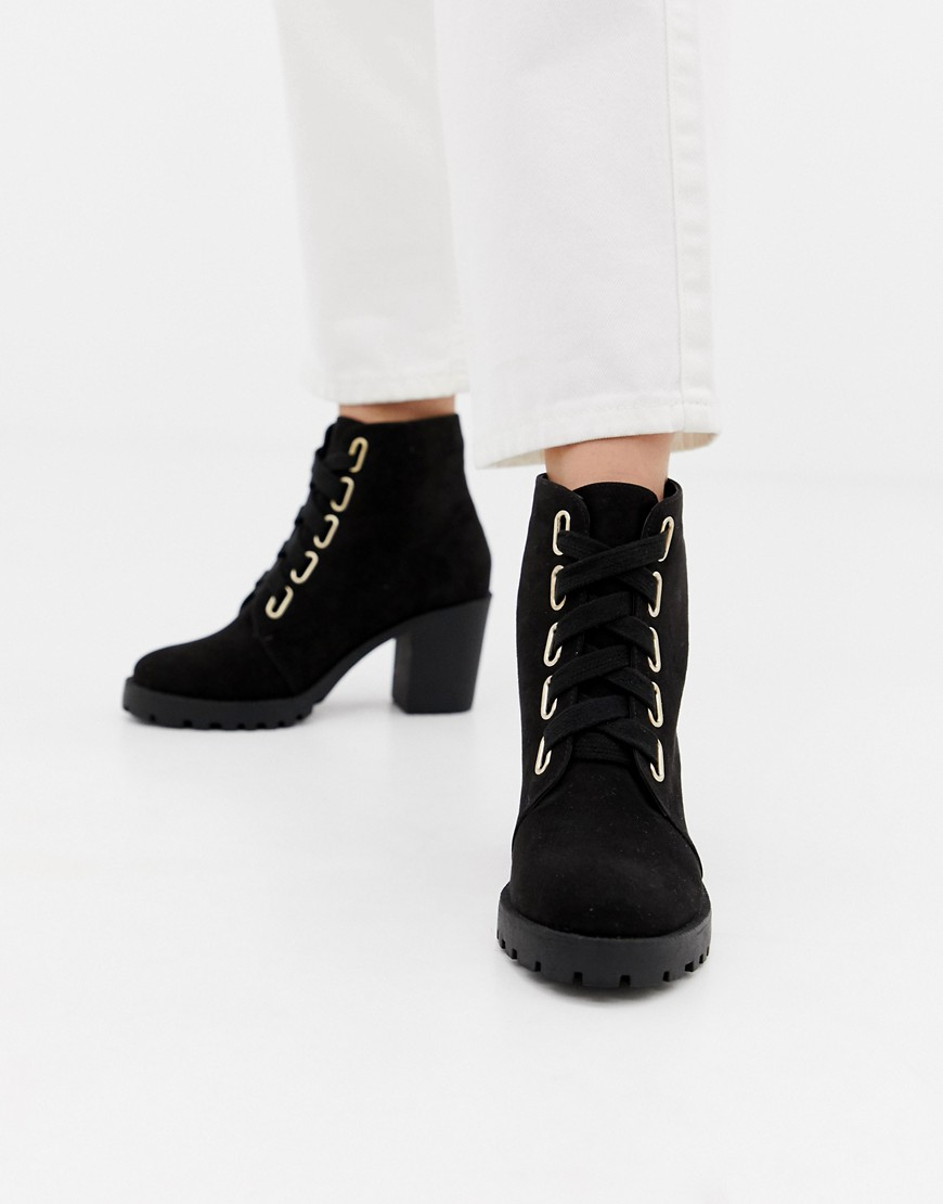 London Rebel - Grosses bottines à lacets-Noir