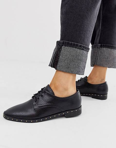 London Rebel lace up studded flat shoe