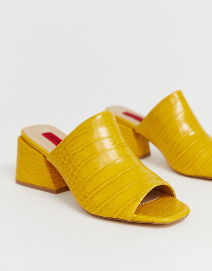 London Rebel - Mules effet croco-Jaune