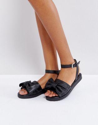 London Rebel Oversized Bow Flat Sandal