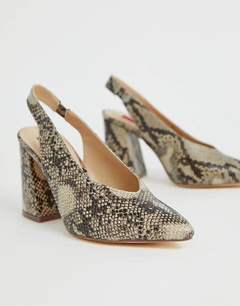 London Rebel pointed block heels in snake