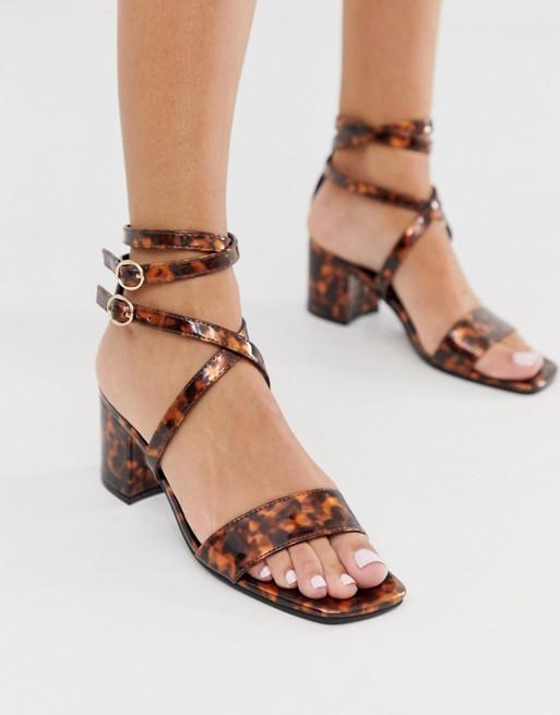 London Rebel - sandaler med blokhæl, stropper og skildpaddeprint
