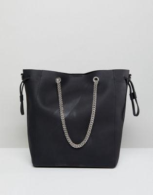 London Rebel – Schwarze Shopper-Tasche mit Kettenriemen