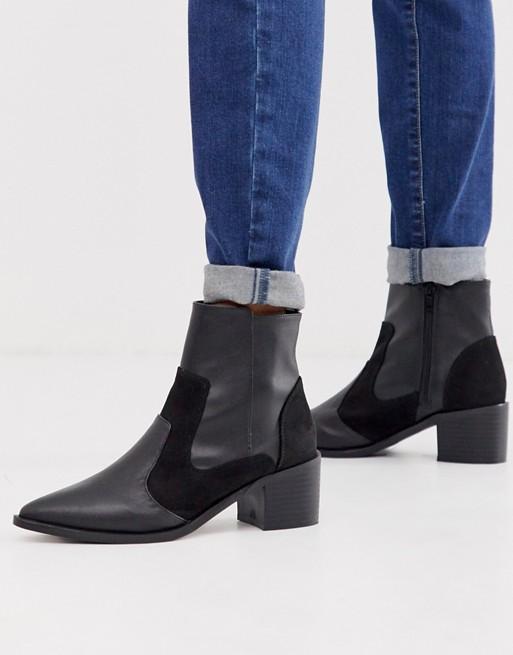 London Rebel - Stivali neri stile western con tacco medio