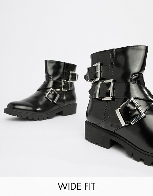 London Rebel Wide Fit Flat Biker Boots