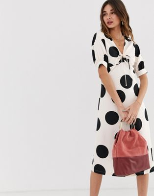 Image 1 of Lost Ink a line midi dress with tie front in spot print