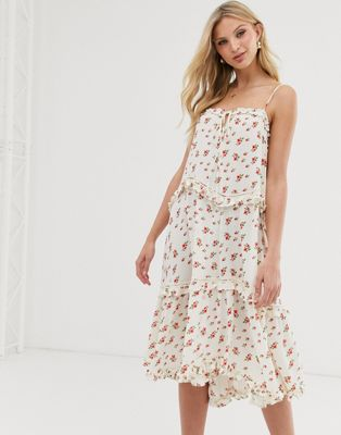 Image 1 of Lost Ink cami midi dress with tiered skirt in vintage floral