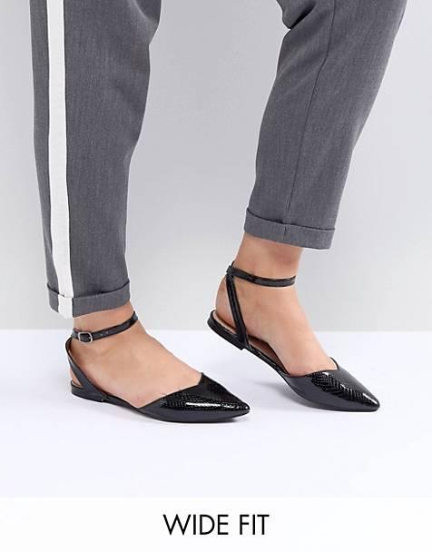 promo code 04e5a c4404 Lost Ink - Chaussures plates à lanière pointure large - Noir