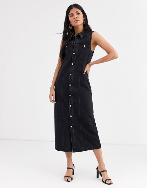 Lost Ink – Jeansowa sukienka maxi z guzikami z przodu 8754219