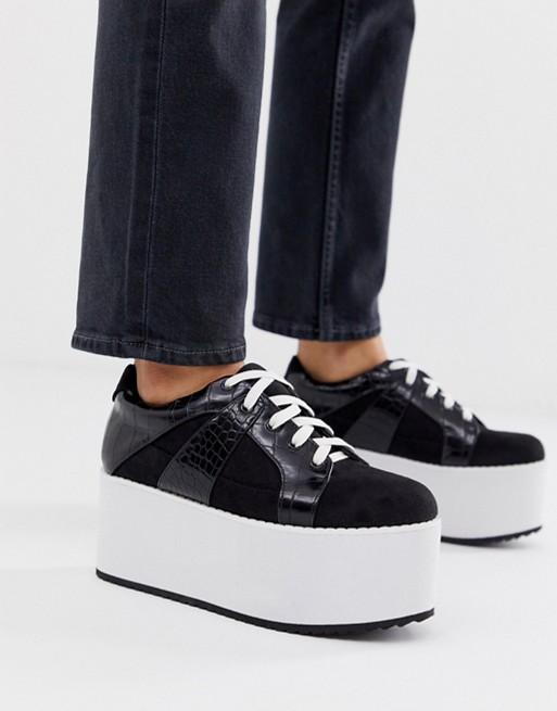 Bild 1 von Lost Ink – Klobige Sneaker zum Schnüren in Schwarz