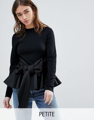 Lost Ink Petite Long Sleeve Top With Peplum Hem And Large Bow