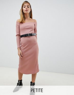 Lost Ink Petite midi bardot dress with belt in rib