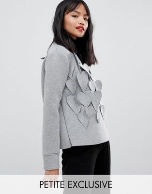 Lost Ink Petite sweatshirt with 3d hearts