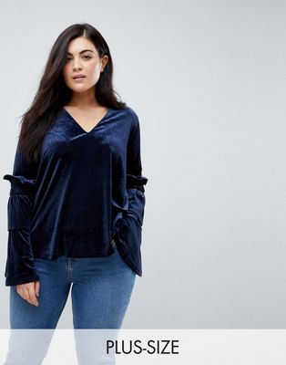 Lost Ink Plus Smock Top With Exaggerated Sleeves In Velvet