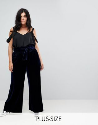 Lost Ink Plus Wide Leg Trousers With Paperbag Waist In Velvet