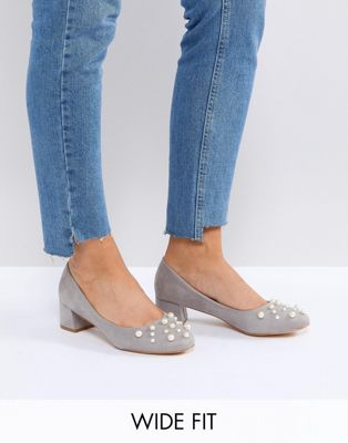 Lost Ink Wide Fit Anna Grey Pearl Detail Mid Heeled Shoes