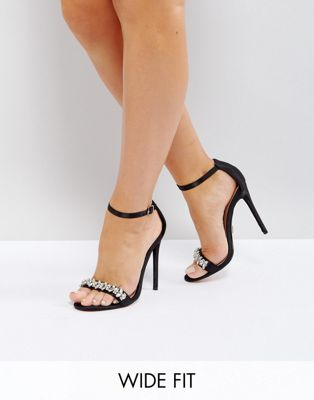 Lost Ink Wide Fit Black Embellished Barely There Heeled Sandals