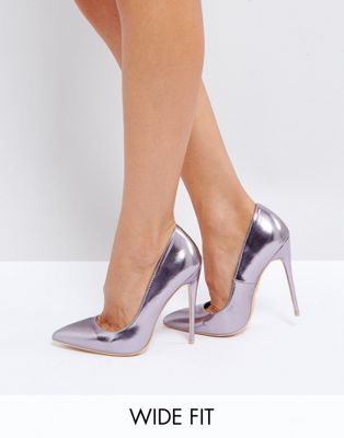Lost Ink Wide Fit Lilac Metallic Court Shoes
