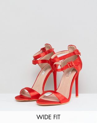 Lost Ink Wide Fit Red Satin Barely There Sandals