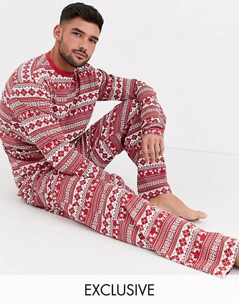 Loungeable christmas fairisle print long sleeve top and trousers pyjama set