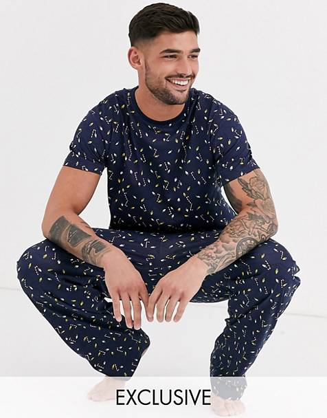 Loungeable christmas lights print t-shirt and trousers pyjama set