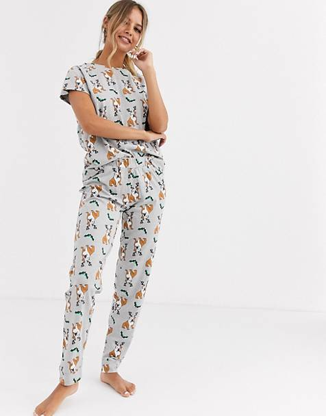 Loungeable his and hers bulldog print pyjama set