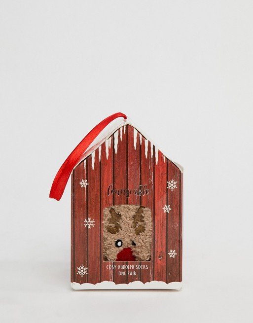 Image 1 of Loungeable rudolph christmas socks in gift box