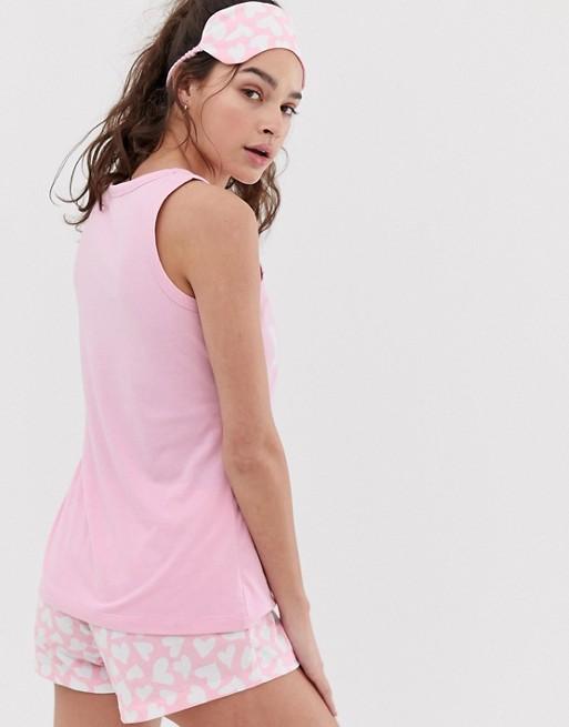 Nuit Et Vie Jeune Rose Fille Pyjama De Cœur À Enterrement Masque Ensemble LoungeableWifey Pour Imprimé oErdBQxWCe