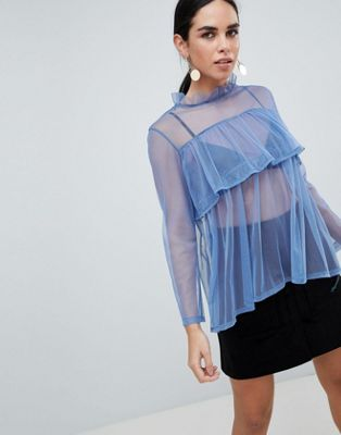 Love Mesh Layer Frill Top
