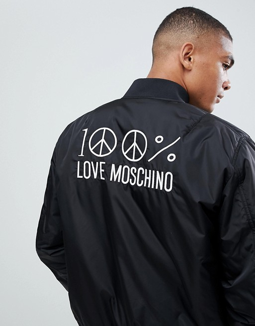 Bild 1 av Love Moschino – Bomberjacka med broderi på ryggen