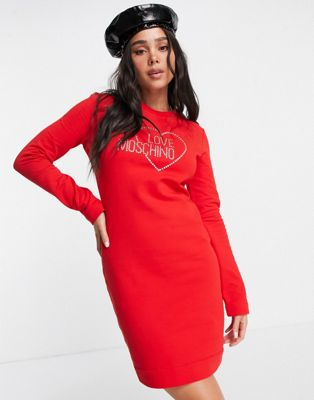 Love Moschino heart logo short sleeve dress in black - ASOS Price Checker
