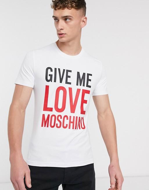 Love Moschino - Give me love - T-shirt bianca