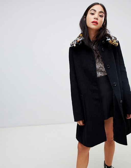 Love Moschino Leopard Faux Fur Collar Swing Coat