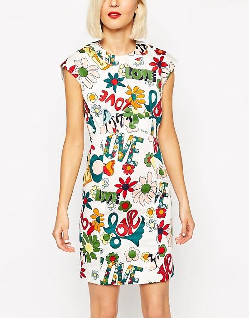 85c132e03 Love Moschino - Love - Robe droite sans manches à imprimé fleuri ...