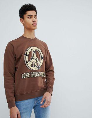 Love Moschino - Maglione con simbolo della pace e logo