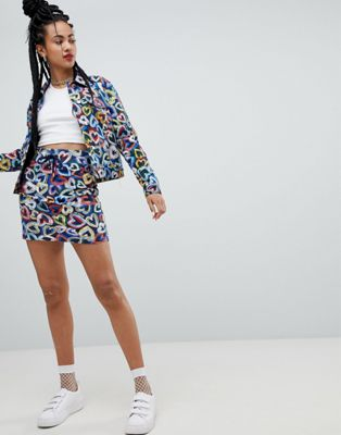 Love Moschino Neon Heart Print Skirt