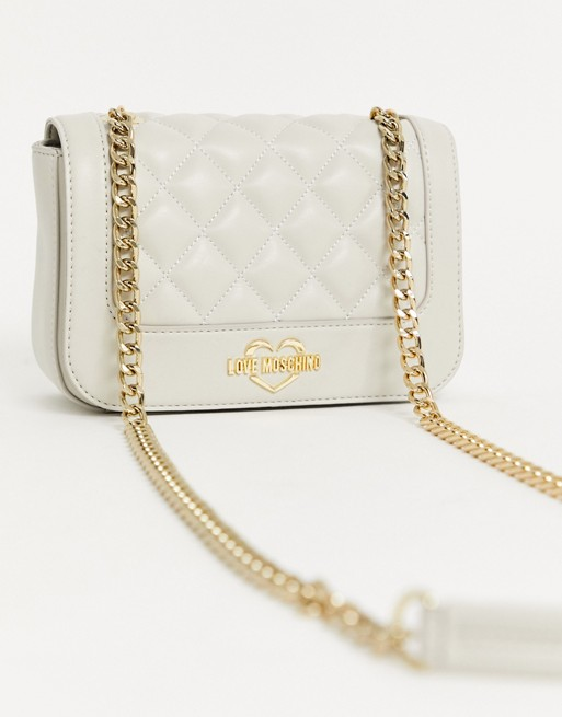 Love Moschino Quilted Shoulder Bag In Ivory by Love Moschino