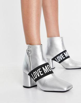 Love Moschino knee high sock boot in black - ASOS Price Checker