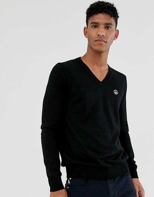 Love Moschino – Stickad v-ringad tröja
