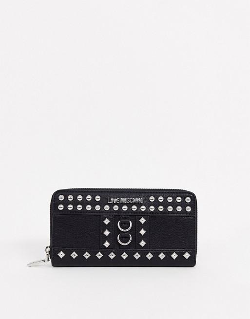 Love Moschino studded zip around purse