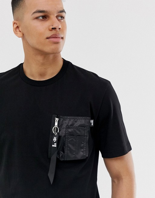 Image 1 of Love Moschino t-shirt in black with zip pocket
