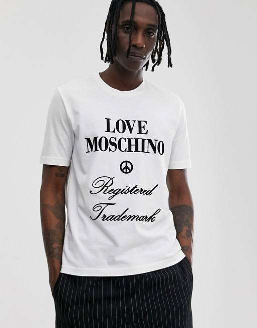 Love Moschino t-shirt with logo print in white