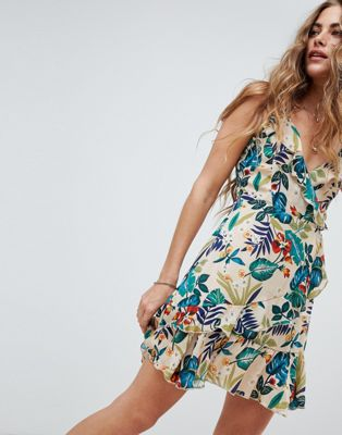 Love & Other Things Leaf Print Wrap Dress