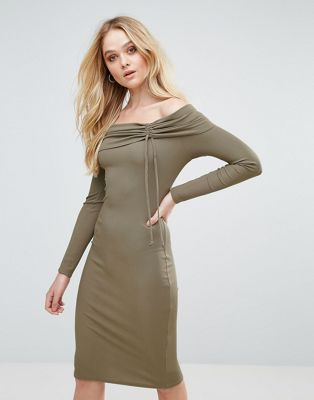 Love Ribbed Bardot Midi Dress